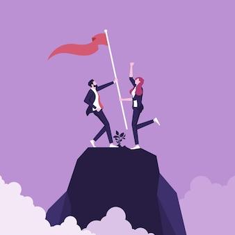 Homem de negócios e mulher conquistando e comemorando a vitória junto com a bandeira levantada