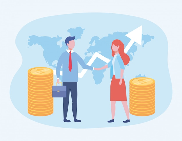 Homem de negócios e mulher de negócios com moedas e seta com mala