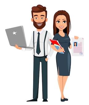 Homem de negócios e mulher de negócios