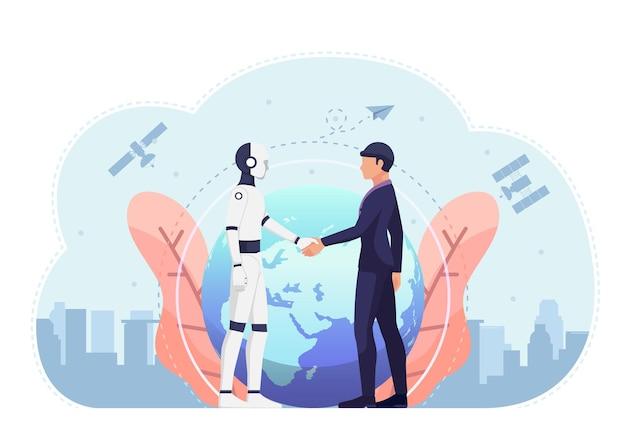 Homem de negócios e robô ai apertando a mão contra o mundo e o satélite no fundo