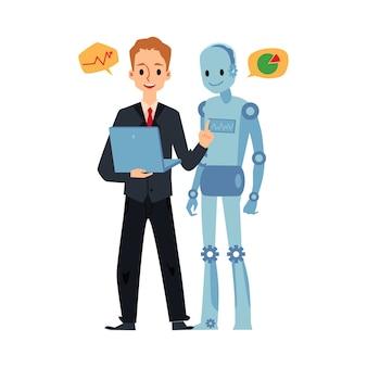 Homem de negócios e robô android olhando para laptop falando sobre gráficos