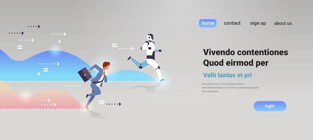 Homem de negócios e robô competindo corrida para linha de chegada inteligência artificial tecnologia concorrência