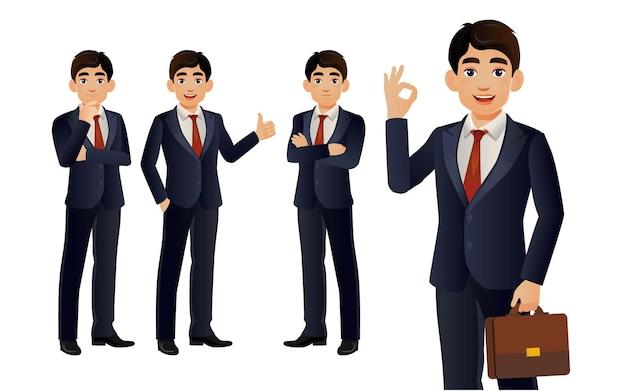 Homem de negócios elegante com diferentes poses.