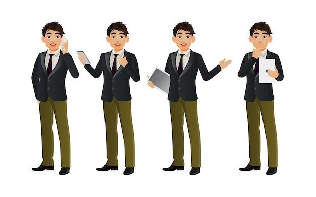 Homem de negócios elegante com poses diferentes.