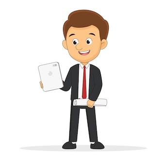 Homem de negócios em pé e gráfico de peças