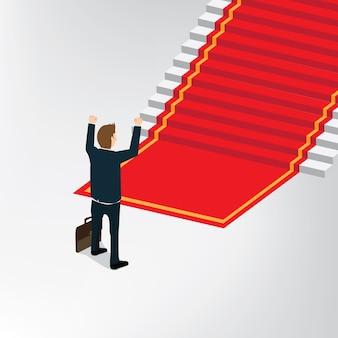 Homem de negócios, em pé na frente da escada da vitória