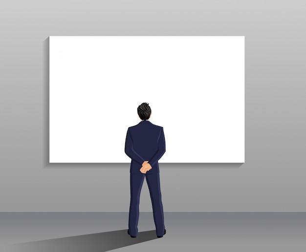Homem de negócios em terno, comprimento inteiro, volta, vista, frente, branca, tábua, vetorial, ilustração