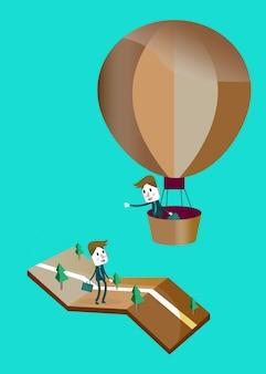 Homem de negócios em um balão de ar quente, diga oi com amigo na rua.