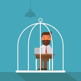 Homem de negócios entediado trabalhando em gaiola