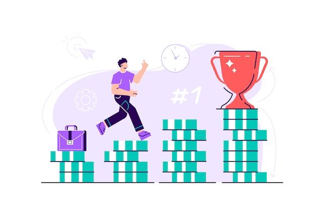 Homem de negócios está subindo escadas de pilhas de moedas em direção a seu objetivo financeiro. conceito de investimento pessoal e poupança de pensões. ilustração de design moderno estilo simples para página da web, cartões.