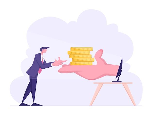 Homem de negócios estende as mãos para a palma enorme com uma pilha de moedas no monitor do pc