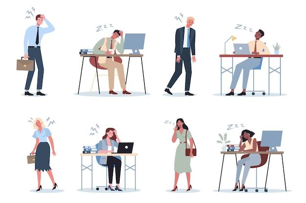 Homem de negócios exausto e mulher no conjunto de escritório.
