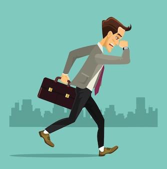 Homem de negócios executando ilustração plana dos desenhos animados