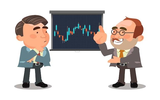 Homem de negócios falando sobre o mercado de ações
