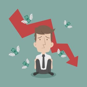 Homem de negócios falha e dinheiro voando