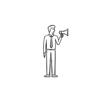 Homem de negócios fazendo barulho com ícone de vetor doodle contorno desenhado de mão megafone. empresário de mídia esboçar ilustração para impressão, web, mobile e infográficos isolados no fundo branco.