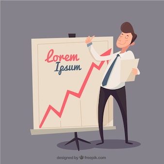 Homem de negócios feliz com o modelo diagrama