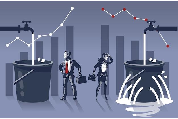 Homem de negócios feliz em ver que seu balde de água está cheio, enquanto a mulher de negócios está triste, seu balde vaza