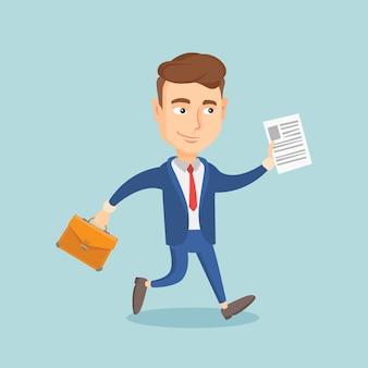 Homem de negócios feliz executando ilustração.