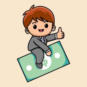 Homem de negócios fofo na ilustração dos desenhos animados de dinheiro a voar
