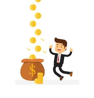 Homem de negócios ganha mais dinheiro