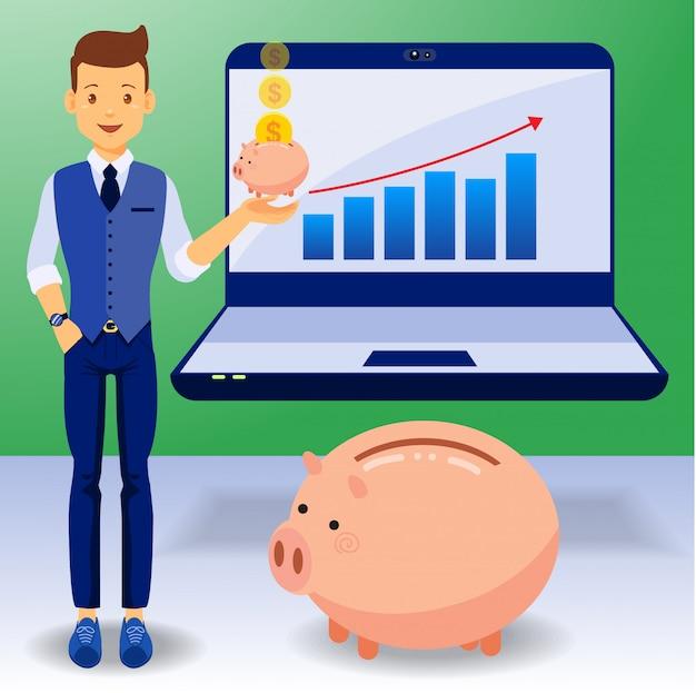Homem de negócios, ganhar dinheiro, design plano