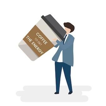 Homem de negócios ilustrado com café