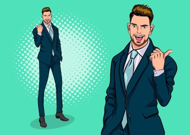 Homem de negócios inteligente com barba e apresentando estilo de quadrinhos retrô pop art