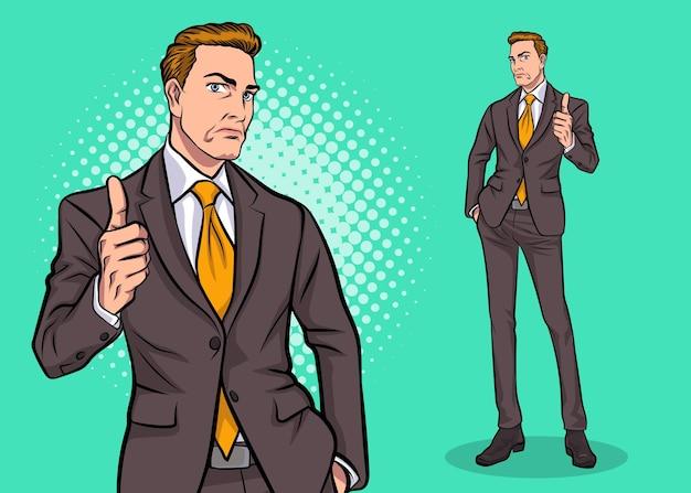 Homem de negócios inteligente superando seu estilo de quadrinhos retrô pop art