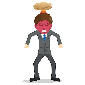 Homem de negócios irritado com rosto vermelho e explosão na cabeça