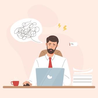 Homem de negócios jovem e frustrado cansado em estresse psicológico no escritório