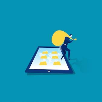 Homem de negócios ladrão no ilustrador de tela de tablet e smartphone