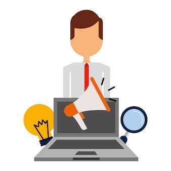 Homem de negócios laptop megafone bulbo magnifier business