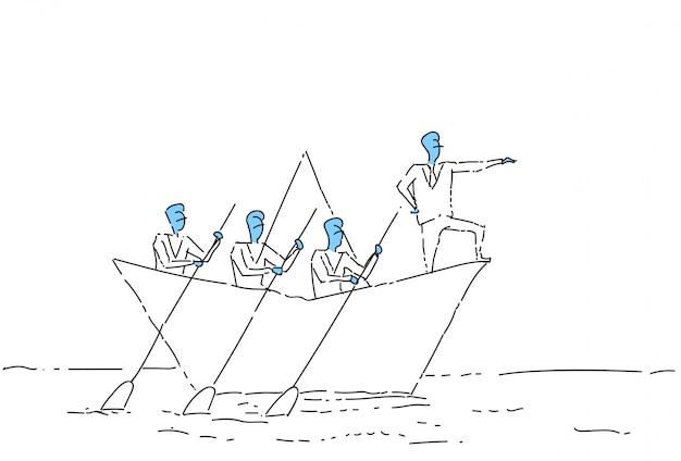 Homem de negócios levando a equipe de pessoas de negócios nadar no conceito de liderança de trabalho em equipe de barco de papel
