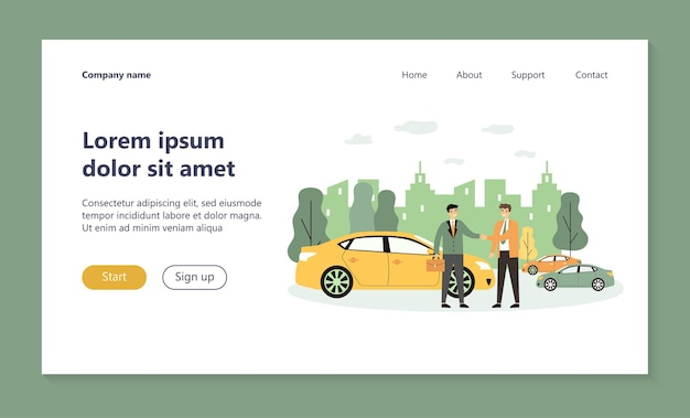 Homem de negócios levando veículo em página de destino de compartilhamento de carro