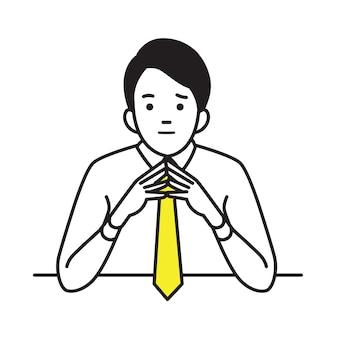 Homem de negócios levantado e mãos fortes