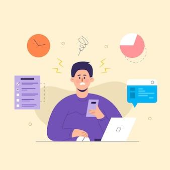 Homem de negócios, lidando com a ideia nova de várias tarefas. trabalhando no laptop. o conceito de objetivos de negócios, sucesso, realização satisfatória.