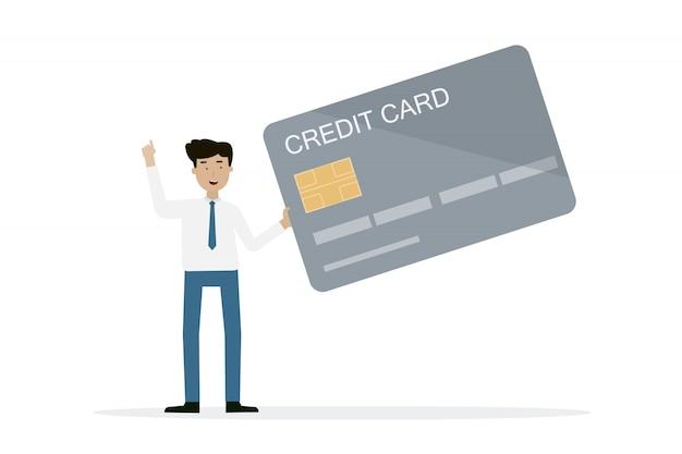 Homem de negócios, mantendo o cartão de crédito