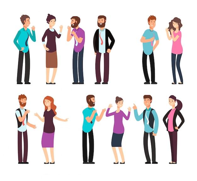 Homem de negócios, mulher e pessoas conversam, discutem, conversam e ouvem. conjunto de caracteres de vetor de desenhos animados