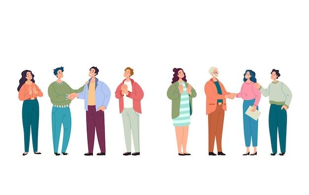 Homem de negócios, mulher, equipe, colegas, parabeniza colega