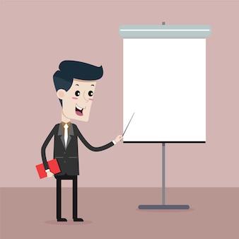 Homem de negócios na apresentação, desenho vetorial
