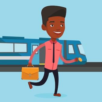 Homem de negócios na estação de trem