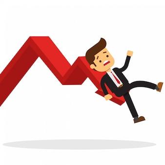 Homem de negócios na queda de gráfico