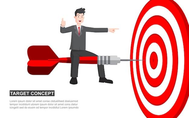 Homem de negócios no conceito dos desenhos animados do tiro do dardo.