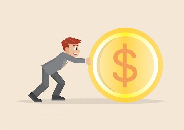 Homem de negócios no terno do escritório que empurra a moeda grande do dólar para a frente.
