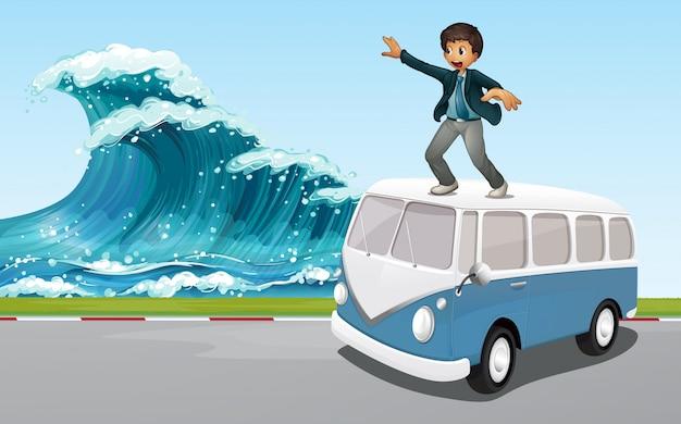 Homem de negócios no topo de uma van