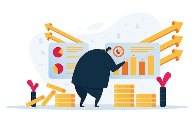 Homem de negócios, olhando para o gráfico. design plano de marketing empresarial.