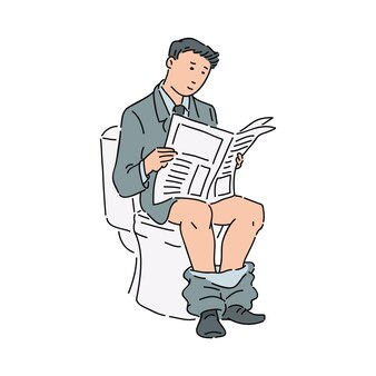 Homem de negócios ou trabalhador de escritório em um terno formal, lendo um jornal no banheiro.
