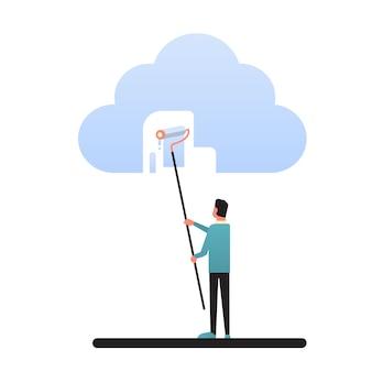 Homem de negócios paint cloud share tecnologia de computação de dados