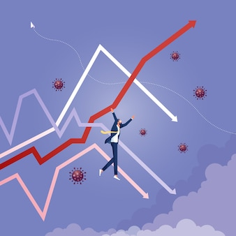 Homem de negócios pendurado no gráfico de flechas para cima